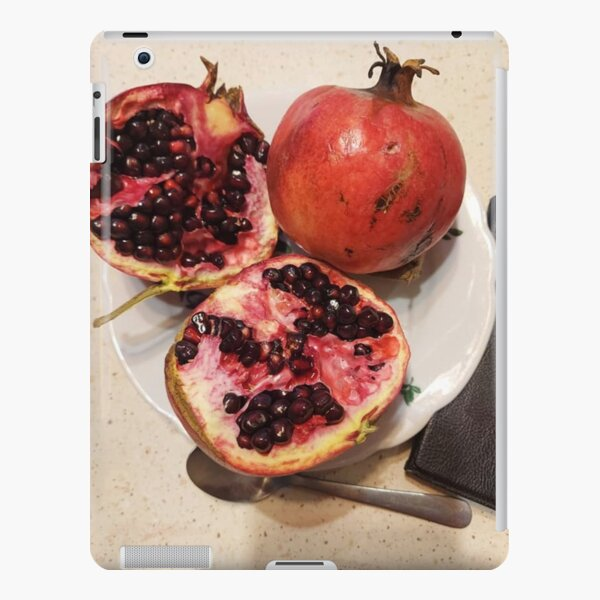 Three pomegranate fruits, spoon, plate, and purse iPad Snap Case