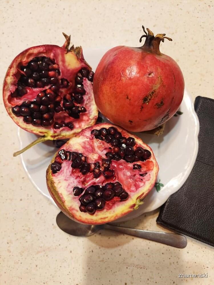 Three pomegranate fruits, spoon, plate, and purse by znamenski