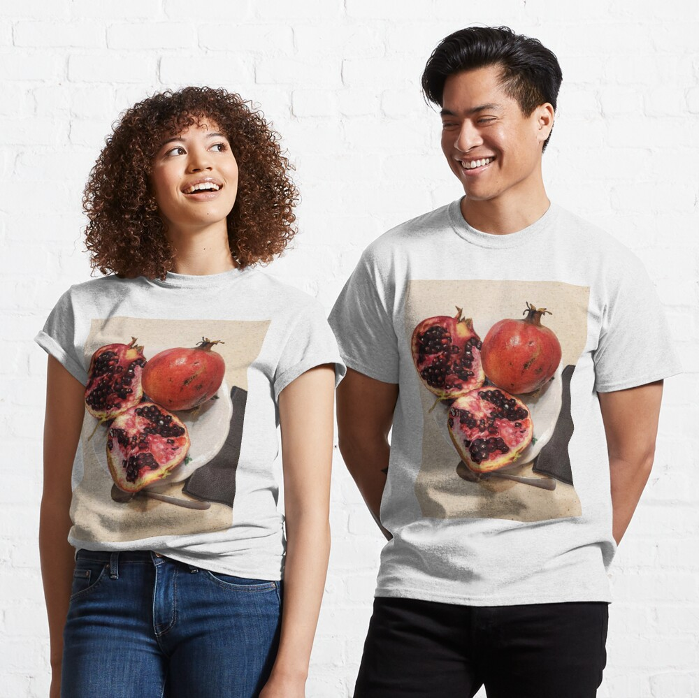 Three pomegranate fruits, spoon, plate, and purse Classic T-Shirt