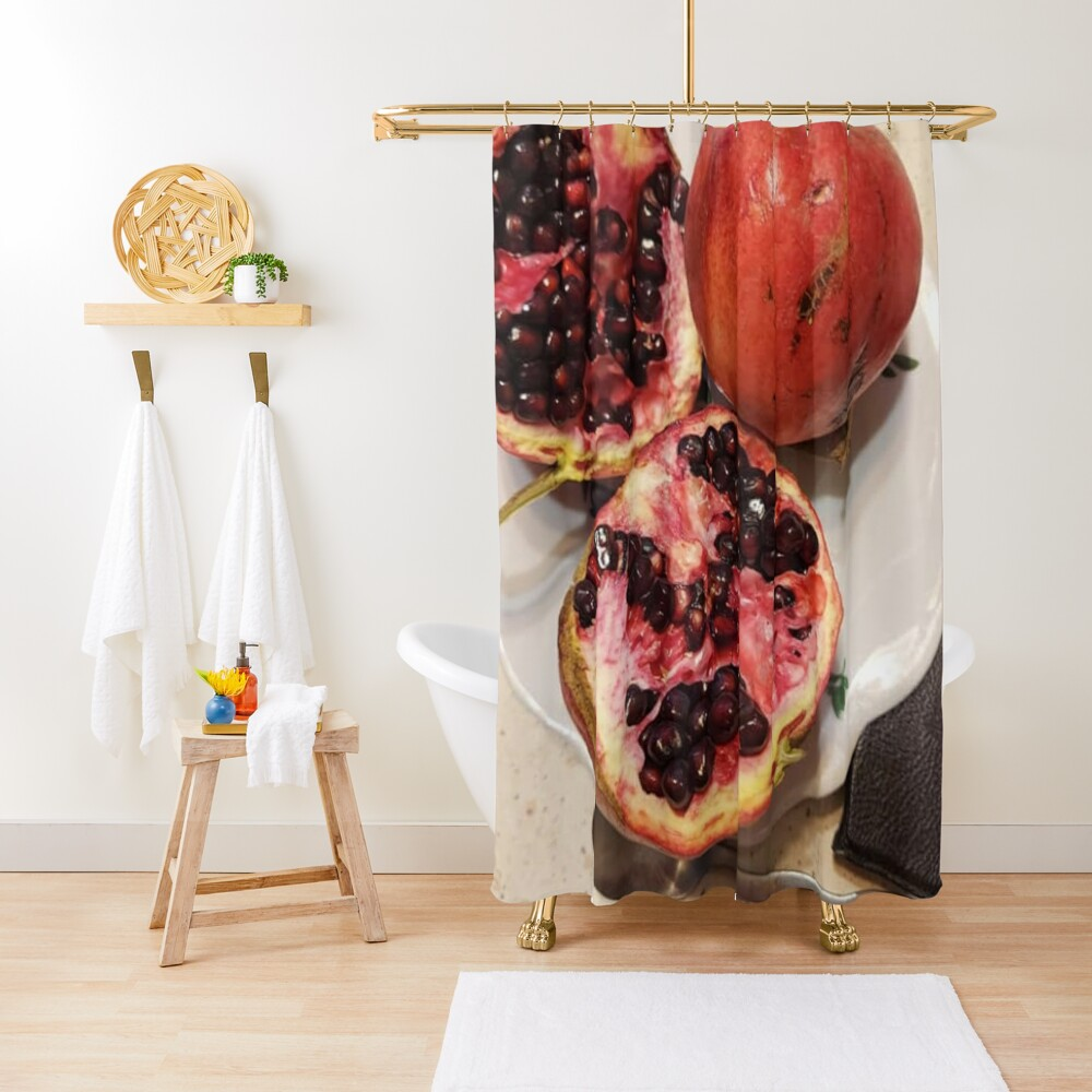Three pomegranate fruits, spoon, plate, and purse Shower Curtain