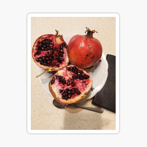 Three pomegranate fruits, spoon, plate, and purse Sticker