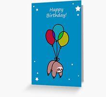Happy Birthday Balloon Sloth Greeting Card