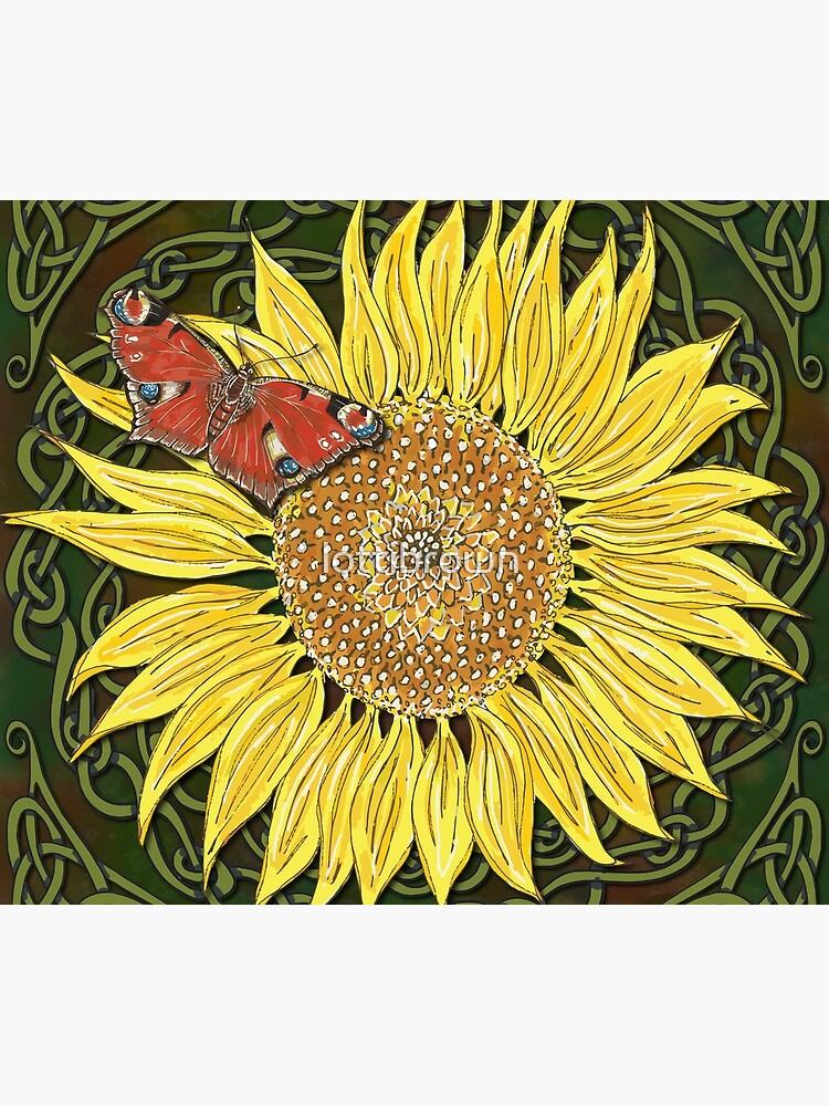 Celtic Sunflower & Peacock Butterfly by lottibrown