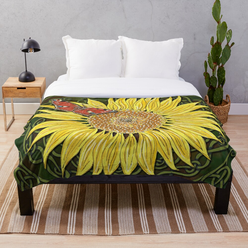 Celtic Sunflower & Peacock Butterfly Throw Blanket