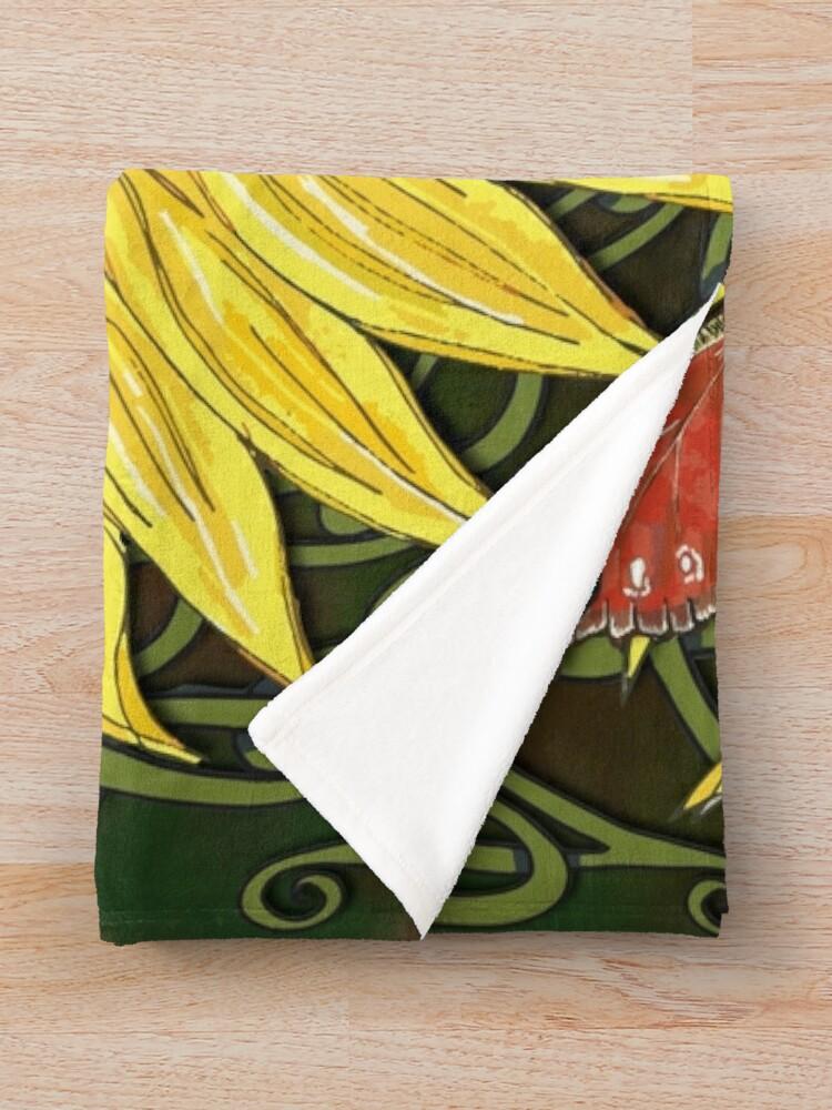 Alternate view of Celtic Sunflower & Peacock Butterfly Throw Blanket