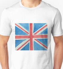 Union Jack UK Flag in Water Colors Red, White and Blue Unisex T-Shirt