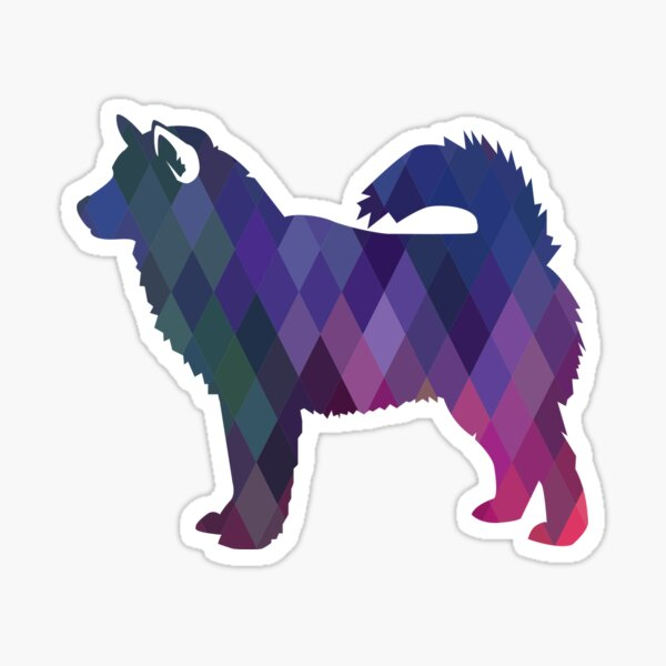 Alaskan Malamute Dog Colorful Geometric Pattern Silhouette - Purple Sticker