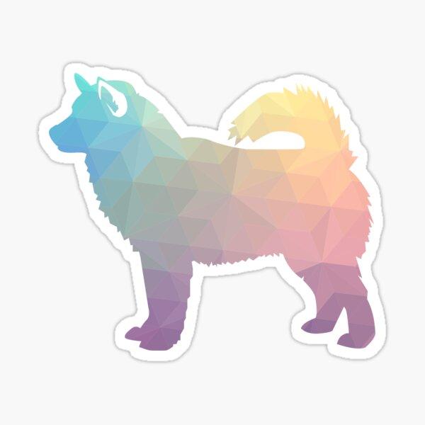 Alaskan Malamute Dog Geometric Pattern Silhouette Pastel Sticker