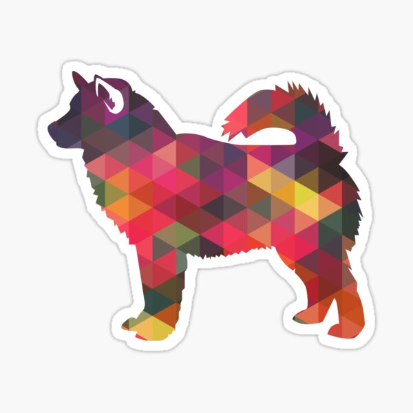 Alaskan Malamute Dog Geometric Pattern Silhouette Multi Sticker