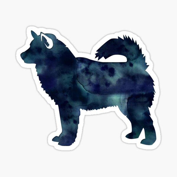 Alaskan Malamute Black Watercolor Silhouette Sticker