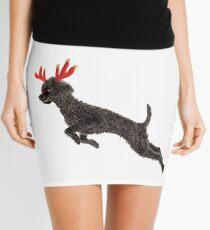 Black Poodle Christmas Reindeer with Red Antlers Mini Skirt