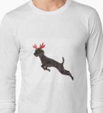 Black Poodle Christmas Reindeer with Red Antlers Long Sleeve T-Shirt