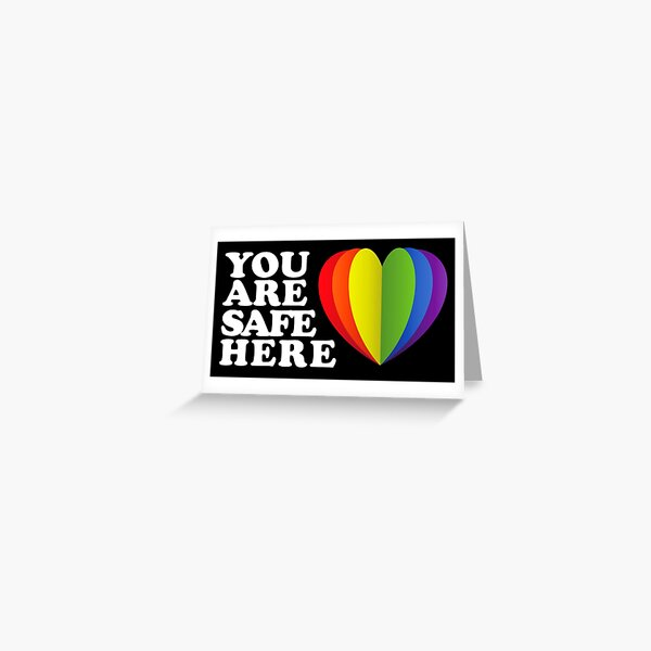 LGBTQ Sign Safe Space Ally Flag Greeting Card