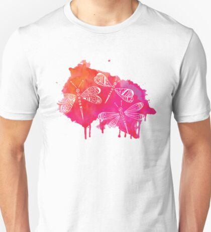 Color Me Dragonflies : Watercolor Pink T-Shirt