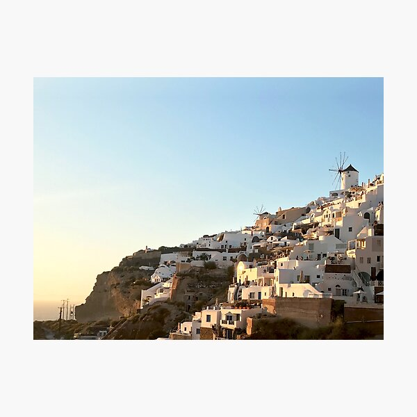 Sunset Of Oia On The Side Of The Hill Photographic Print
