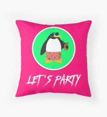 Let's Party Penguin Throw Pillow