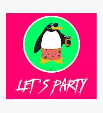 Let's Party Penguin Photographic Print