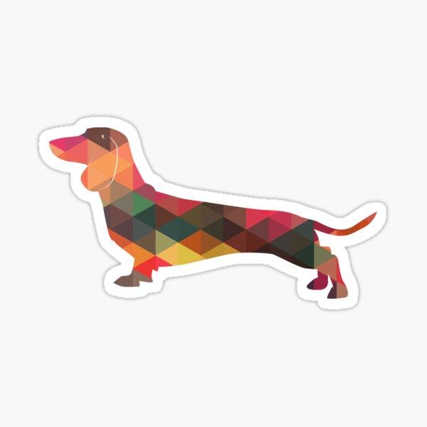 Dachshund Dog Colorful Geometric Pattern Silhouette - Multi Sticker