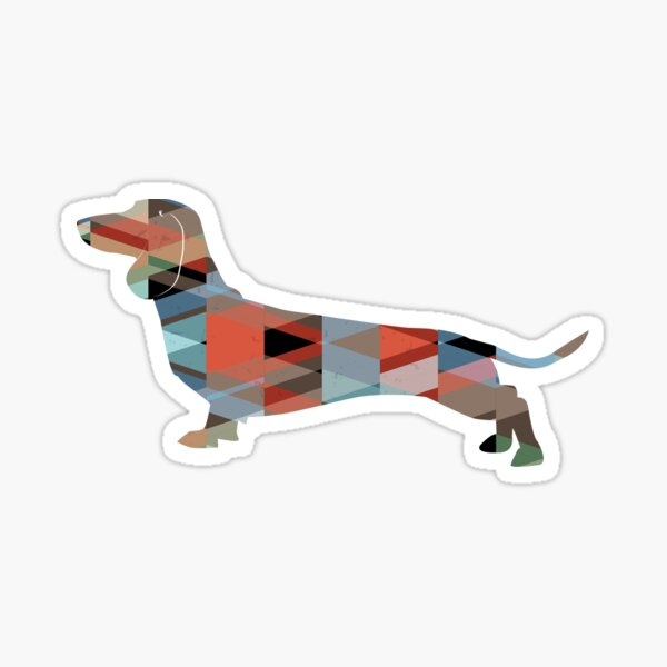 Dachshund Dog Colorful Geometric Pattern Silhouette - Plaid Sticker