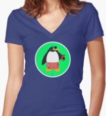 Party Penguin Women's Fitted V-Neck T-Shirt