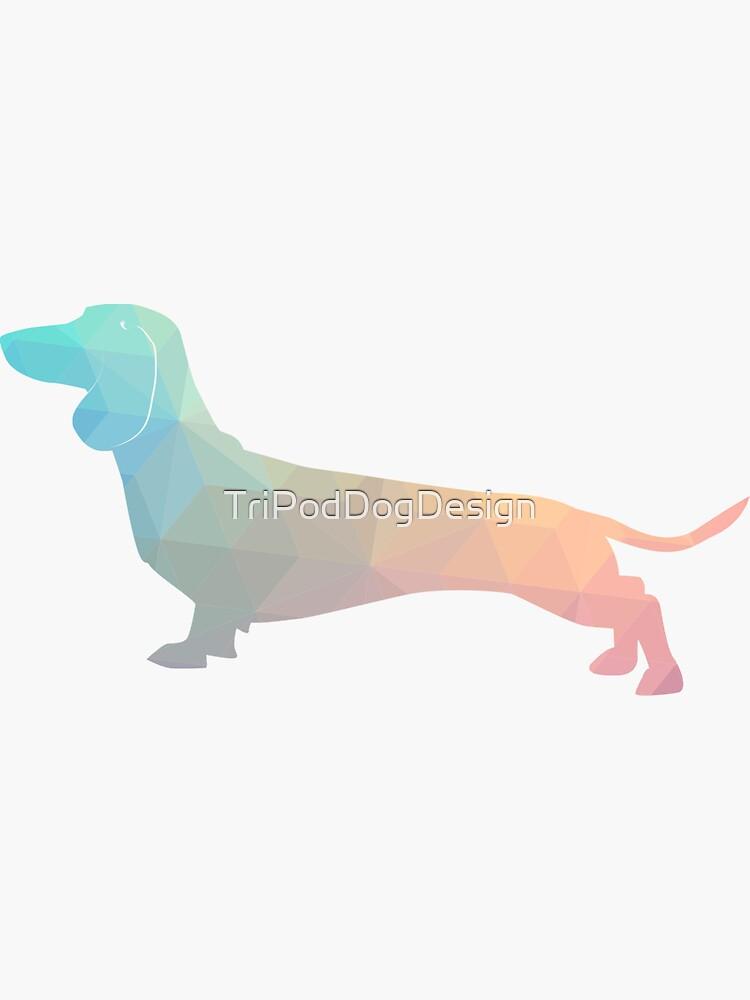 Dachshund Dog Colorful Geometric Pattern Silhouette - Pastel de TriPodDogDesign