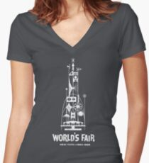 64/65 World's Fair - Tower of the Four Winds Women's Fitted V-Neck T-Shirt