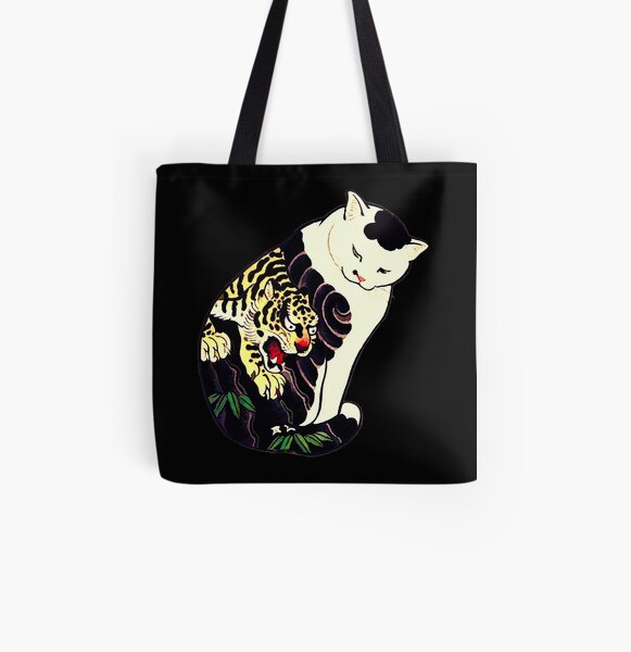 Antique Japanese Woodblock Print Cat with Tiger Tattoo All Over Print Tote Bag