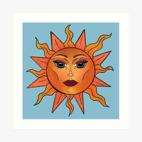 Sun with a face Art Print