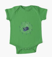Playful Whales Drawing - Seamless Pattern One Piece - Short Sleeve