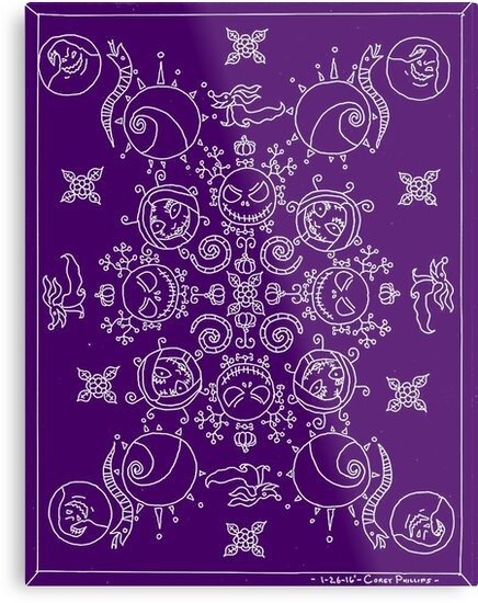 purple and white nightmare before christmas mandala by faeriestar