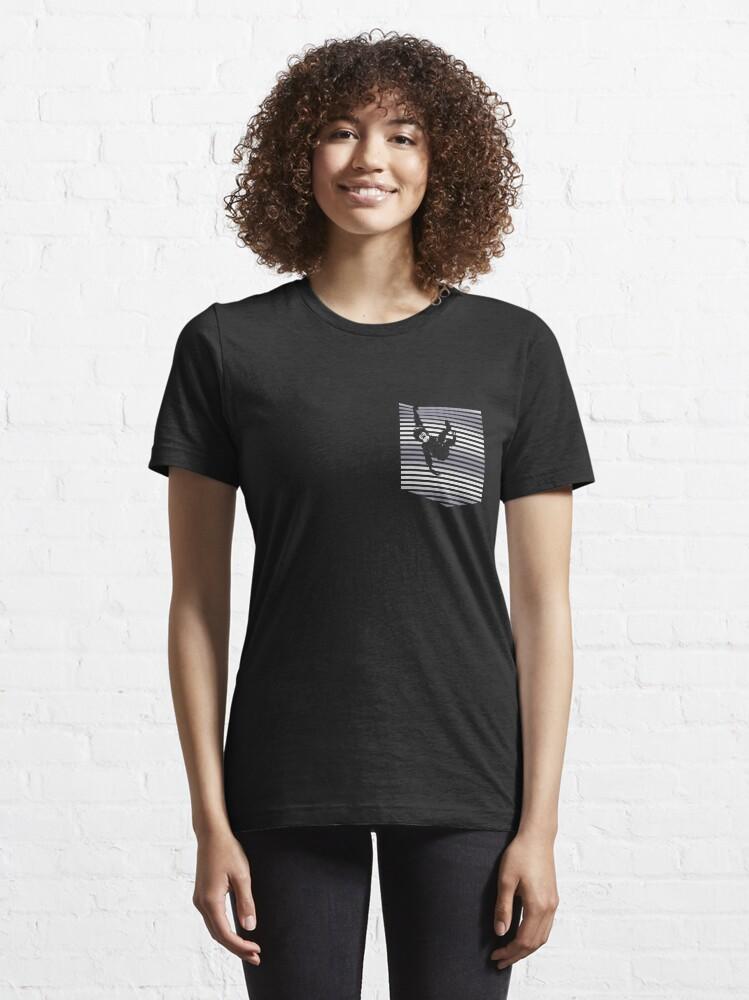 Alternate view of Hanging Monkey on the Pocket Unisex Novelty Pocket Monkey Essential T-Shirt
