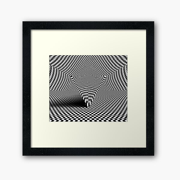 Triangle with checkered lines Framed Art Print