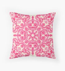 Hot Pink & Soft Cream Folk Art Pattern Throw Pillow