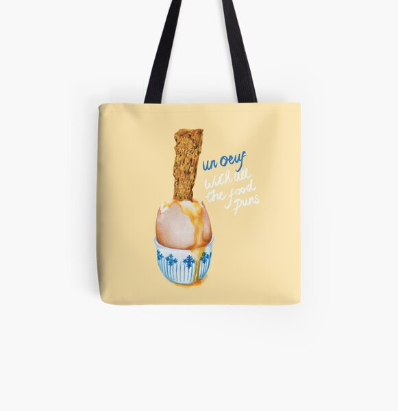 Cute Food Pun - Un Ouef With All The Food Puns All Over Print Tote Bag