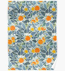 oranges and leaves vintage pattern Poster