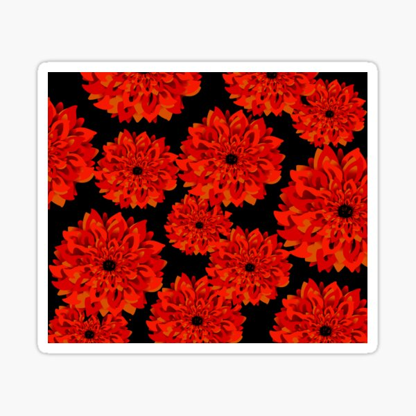 Red and Gold Dahlias on Black Sticker