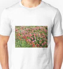 Field of beautiful red flowers. Unisex T-Shirt