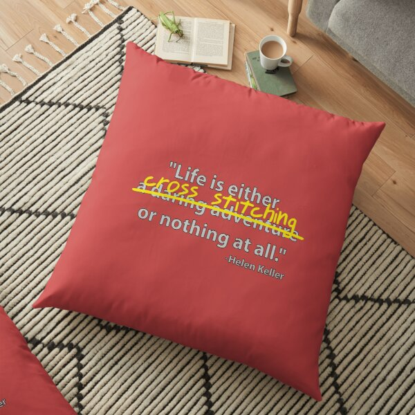 Life is cross stitching Floor Pillow