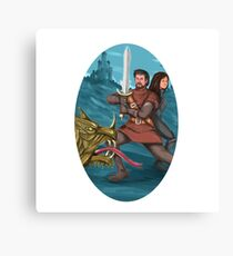Cavalier and Lady Fighting Dragon Oval Watercolor Canvas Print