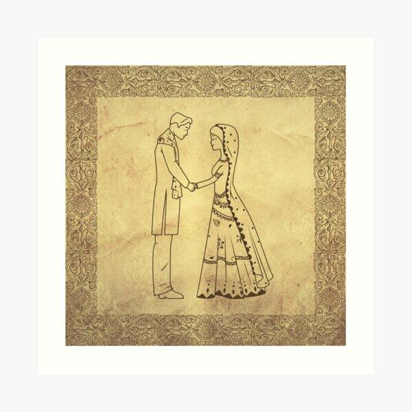 Antique- Couples holding hands - mehandi function Art Print