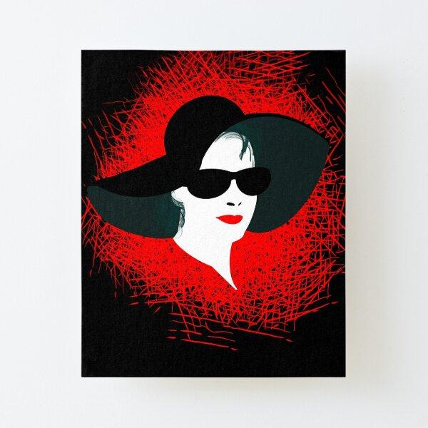 Lady mit Hut und Brille Aufgezogener Druck auf Leinwandkarton