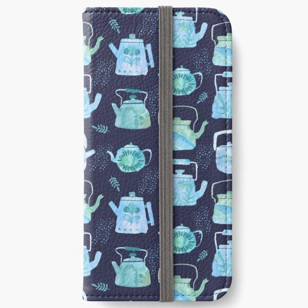 Watercolor Teapots - blue & green iPhone Wallet