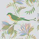 pretty bird dark flower seamless pattern by Maria Khersonets