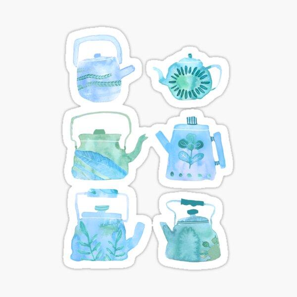 Watercolor Teapots - blue & green Sticker