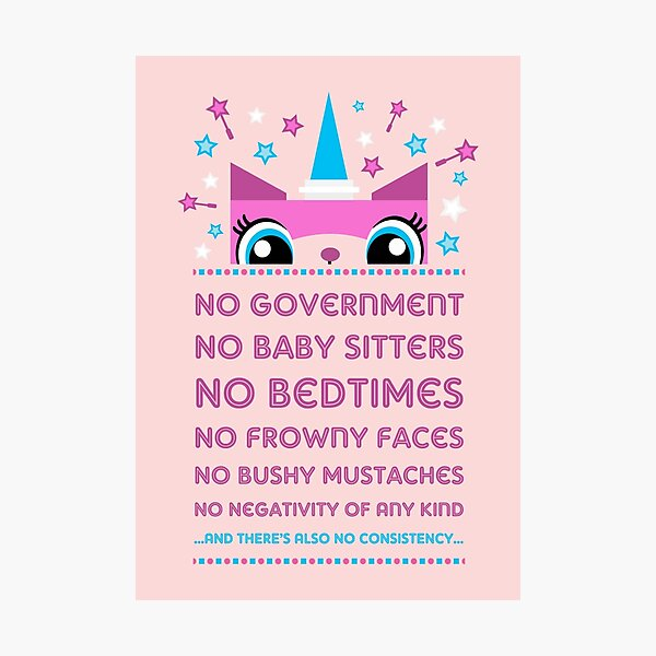 Rules By Princess Unikitty (USA Version) Photographic Print