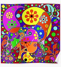 Colorful Dog Pop Art Paisleys Poster