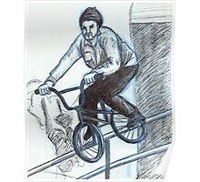 BMX Biker on Rail Poster