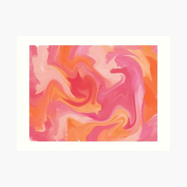 pink and orange warm marble swirl tie dye  Art Print