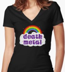 Death Metal Rainbow Women's Fitted V-Neck T-Shirt