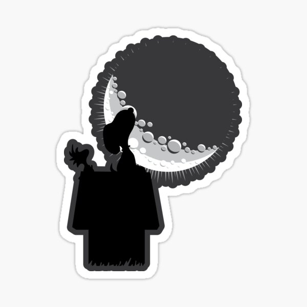 regardant la lune Sticker